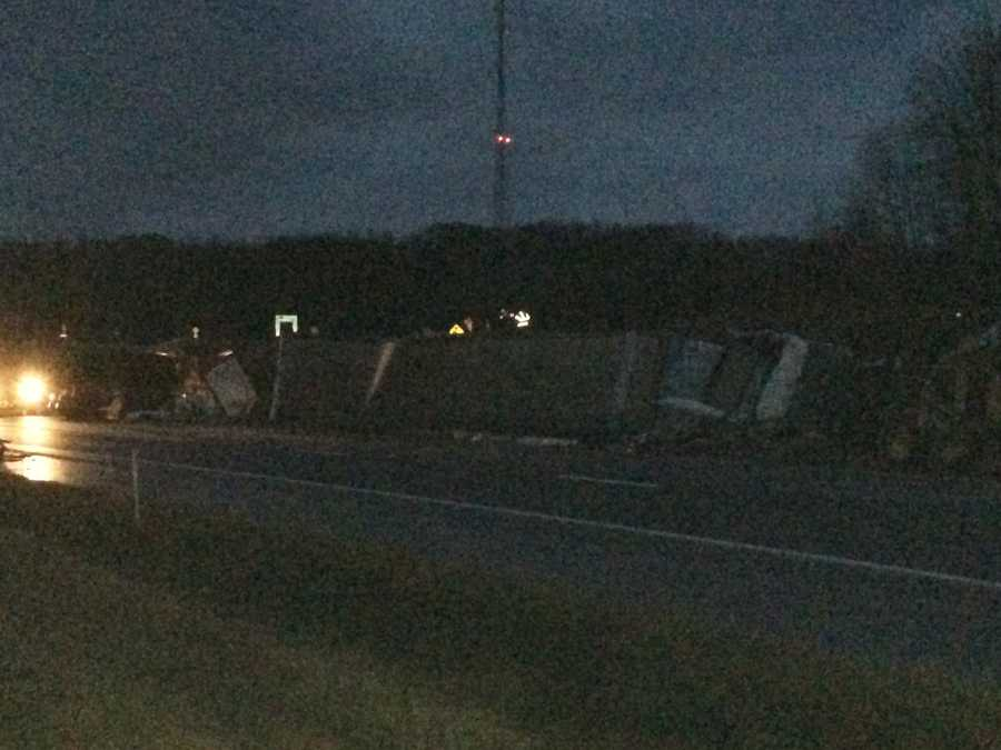 One westbound lane of Interstate 80 remained closed in western Pennsylvania, hours after two tractor-trailers crashed, cutting one of the vehicles in half.
