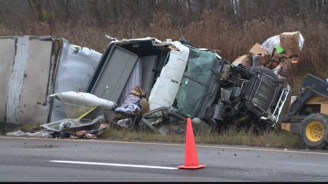 A tractor-trailer crash caused Interstate 80 to be shut down.