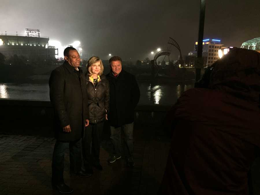 The fearsome threesome:  Andrew Stockey, Sally Wiggin, and Guy Junker braving the cold weather Nashville