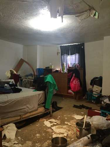 The ceiling collapsed in a townhome on Torrance Street in Penn Hills.
