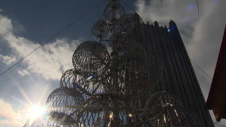 """The Season of Lights is a 33-foot tall """"sphere tree"""" made up of different size balls that will be illuminated with red and white twinkling lights in Market Square for Light Up Night and throughout the holiday season."""