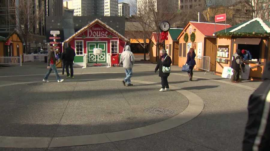 The Holiday Market has been set up in Market Square, with vendors from around the world selling seasonal holiday gifts.