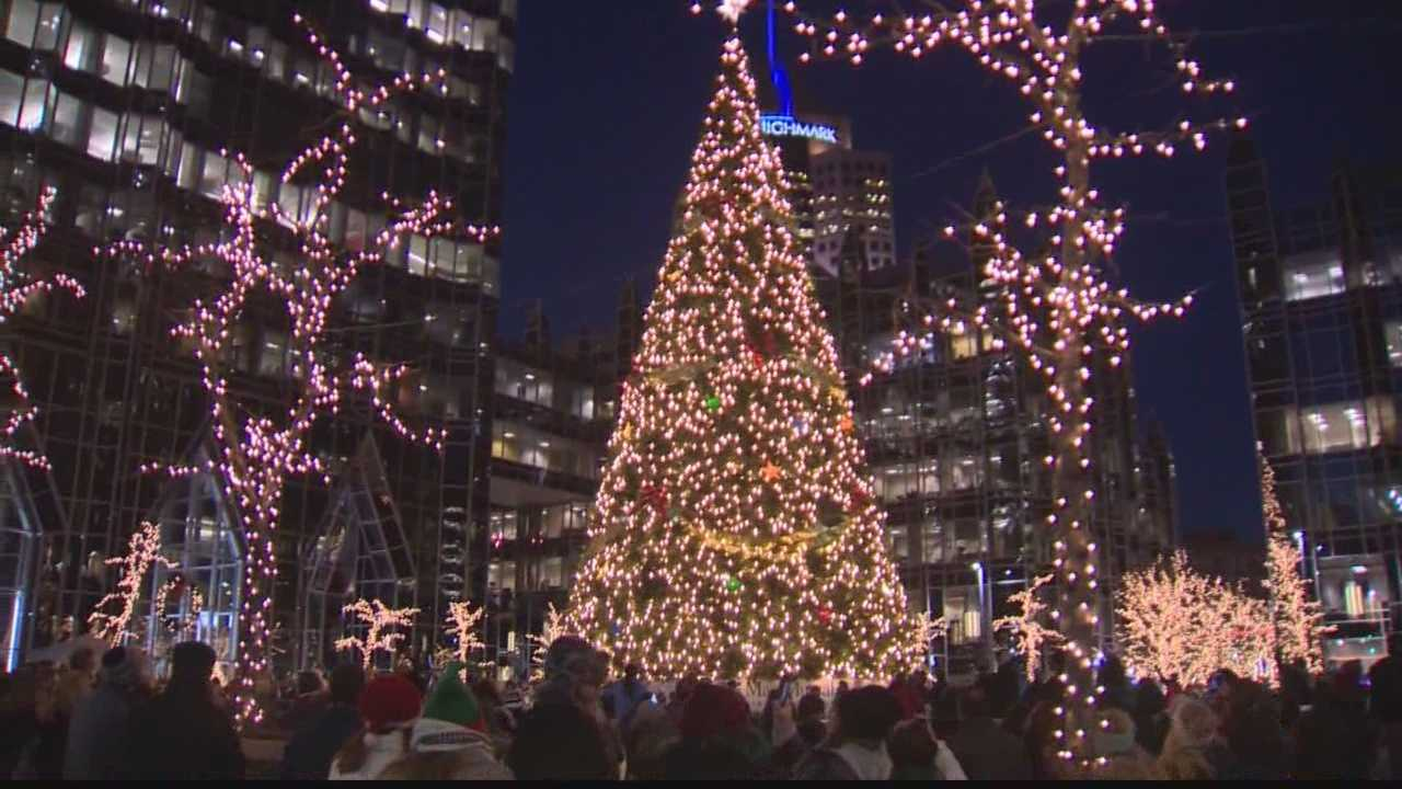 The holiday tree at PPG Plaza