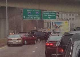 Bigelow Boulevard heading toward Downtown Pittsburgh