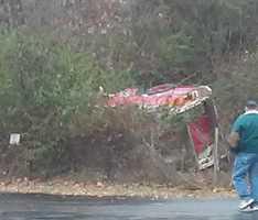 McKeesport fire engine on its side