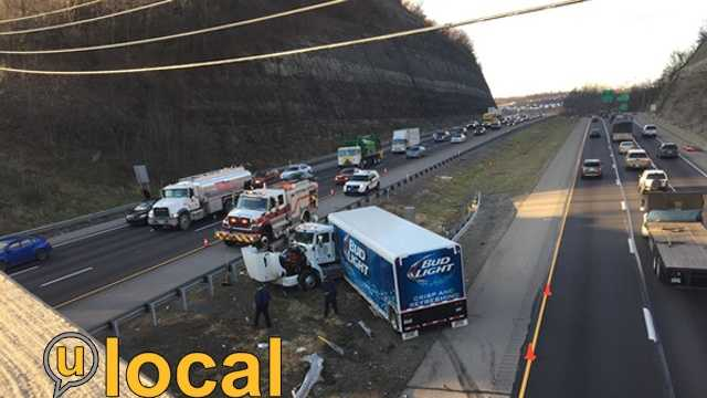 A Bud Light truck crashed on Interstate 79.