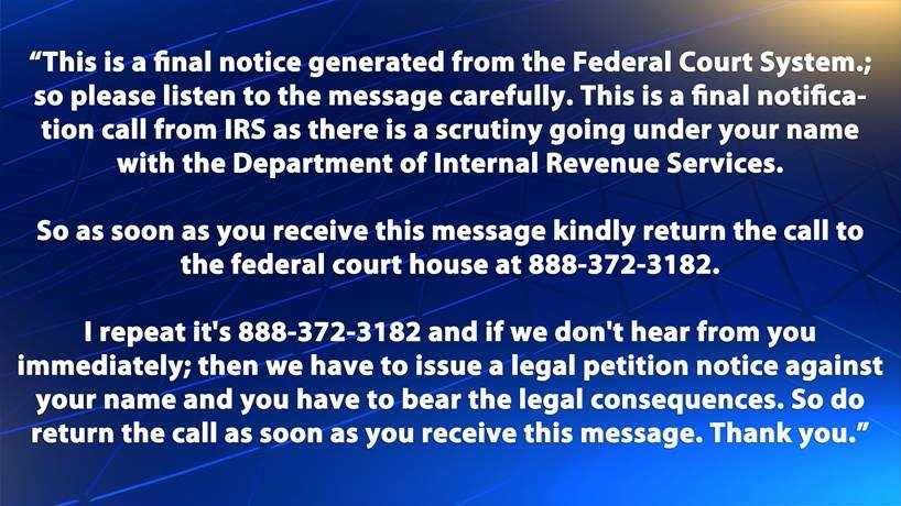 An example of a scam message recently left on voicemail in the Pittsburgh area.