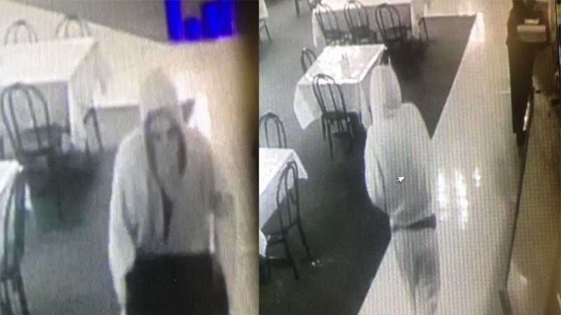 Police say these are surveillance images of a person who stole a cash register from CJ's Clubhouse (formerly known as the Greendale Tavern & Lanes) just hours before a fire destroyed the business.