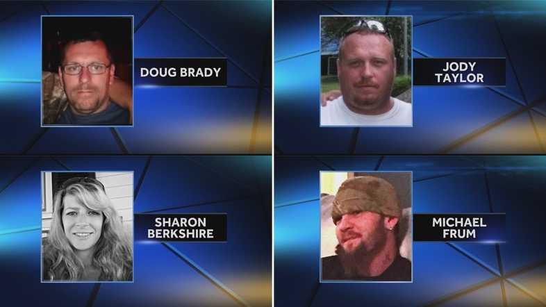 Police say Jody Lee Hunt shot Doug Brady, Sharon Berkshire, Michael Frum and Jody Taylor.