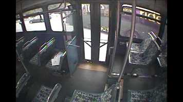 This surveillance image from Frauens' bus shows Maier's bus moving out of her lane toward the edge of the interstate.