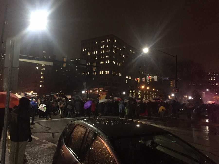 A protest against the police-involved deaths of Mike Brown and Eric Garner marched from Schenley Plaza up Bigelow Boulevard toward Fifth Avenue in Oakland.