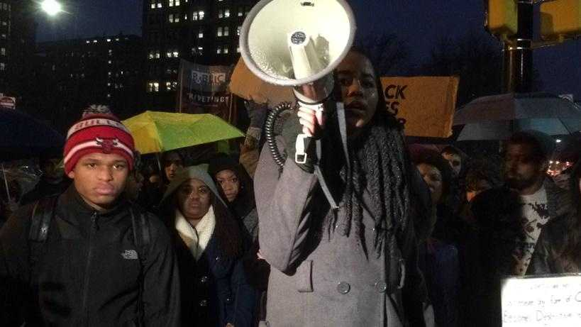 """The crowd in Oakland chanted, """"Pittsburgh can you hear us now, we will break the system down,"""" at a protest against the police-involved deaths of Mike Brown and Eric Garner."""