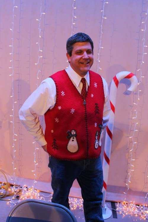 Engineer Todd Holemeyer with a very fabulously ugly sweater vest.