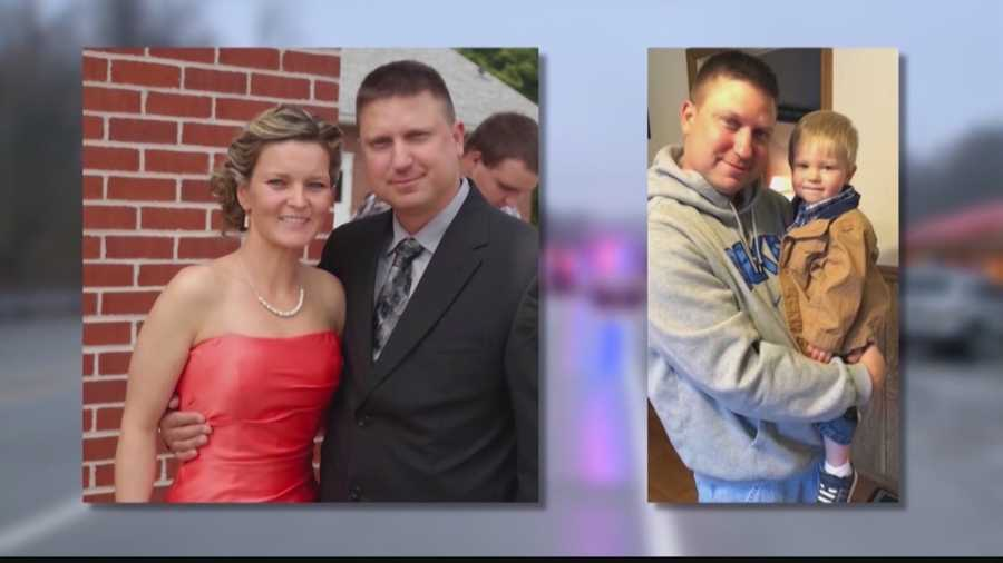 Perryopolis police Officer Richard Champion, pictured with his wife and their son.