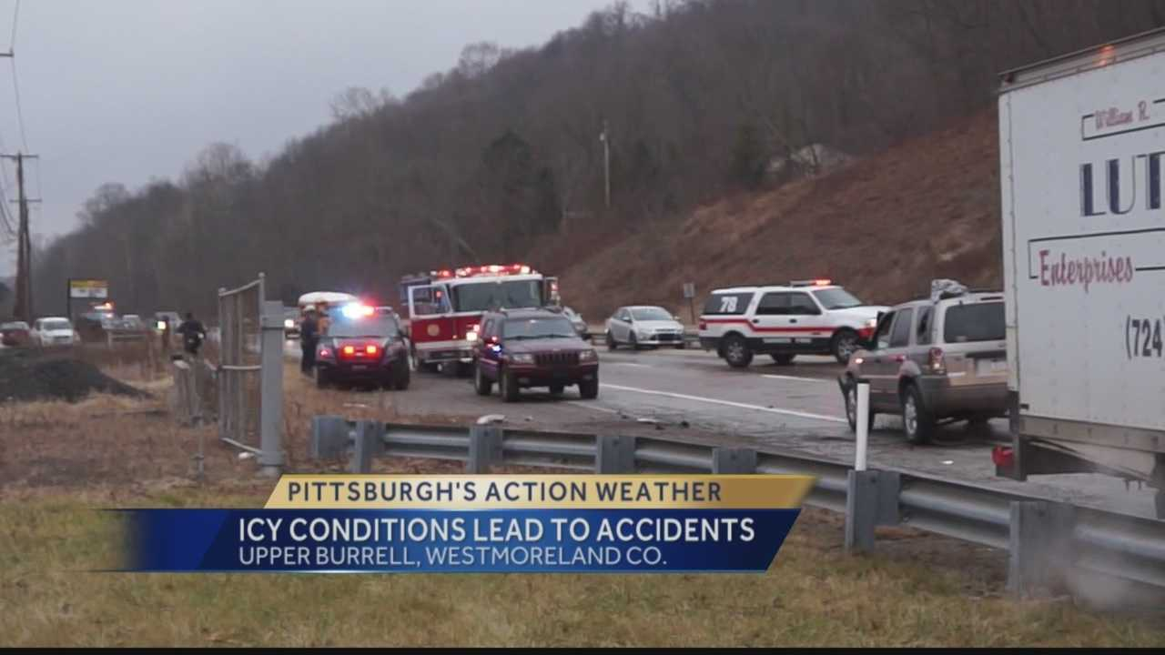 Pittsburgh's Action News 4's Janelle Hall has the latest on all the various accidents across Western PA today due to the slick conditions.