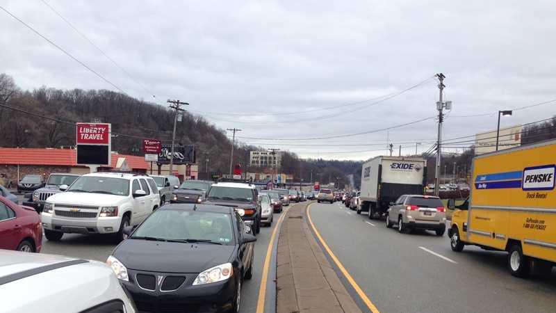 Traffic on McKnight Road in Ross Township.