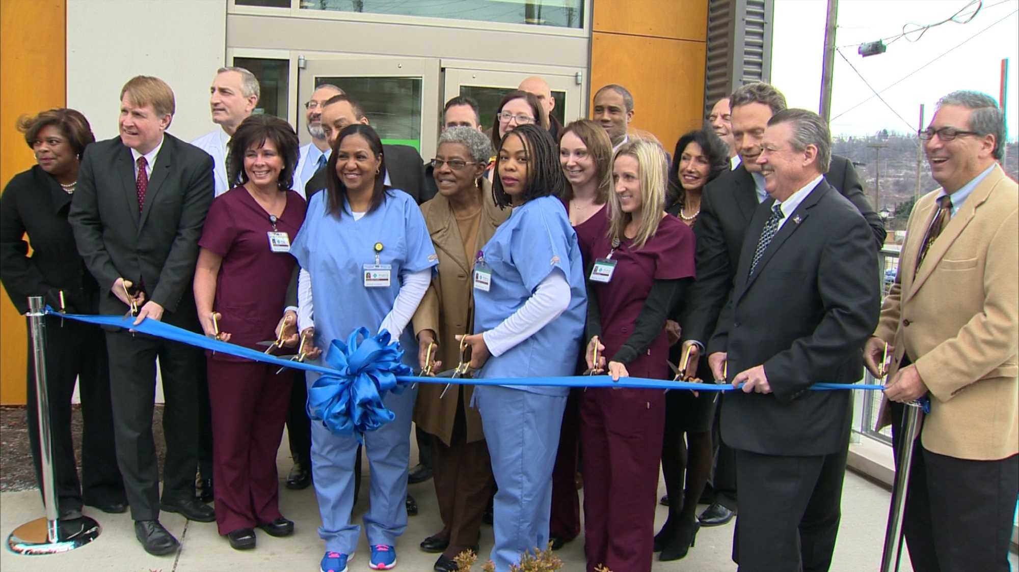 A ribbon-cutting ceremony at the Allegheny Health Network's urgent care center in Braddock.