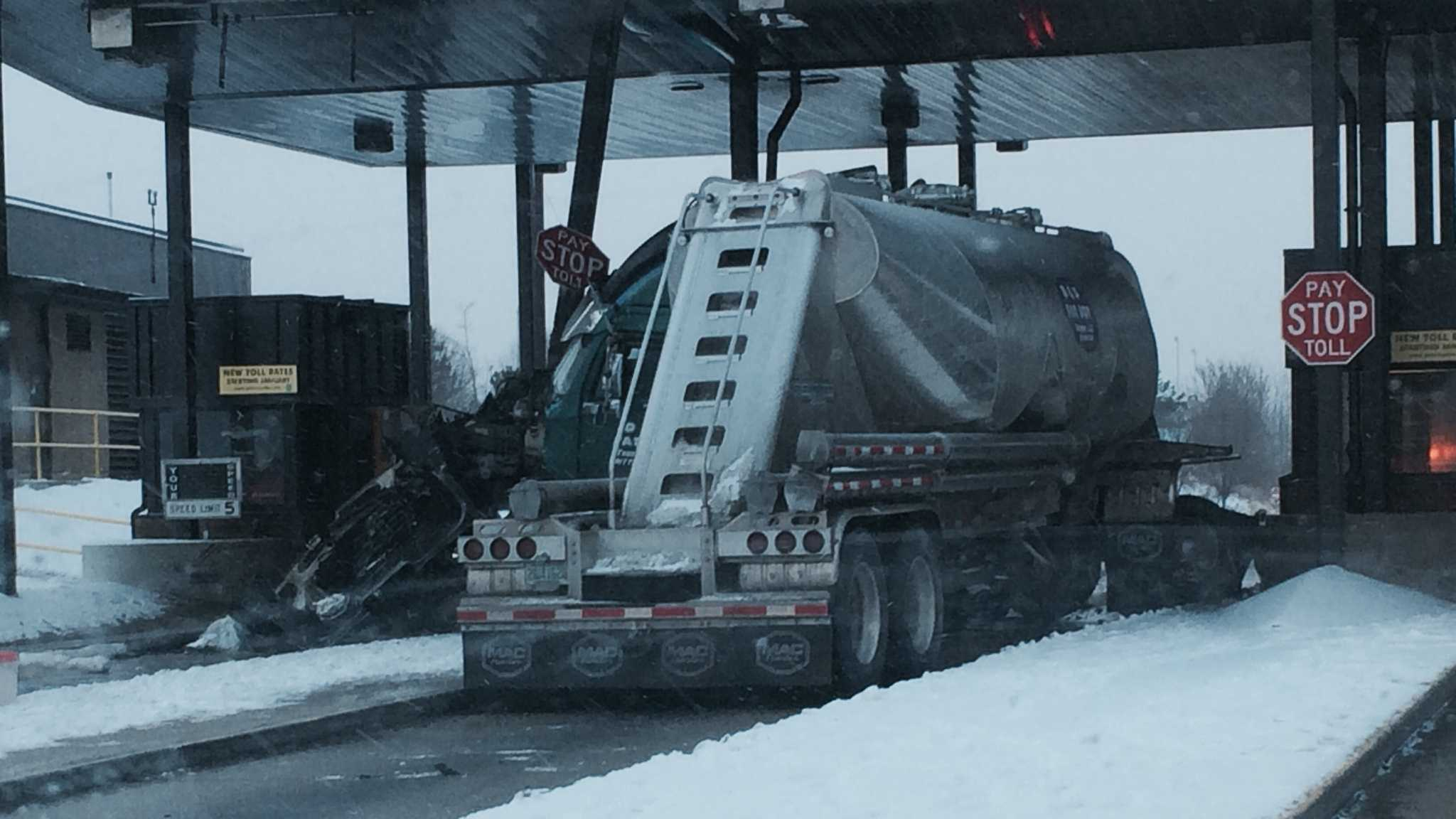 A tanker truck crashed into a toll booth at the Mon-Fayette Expressway.