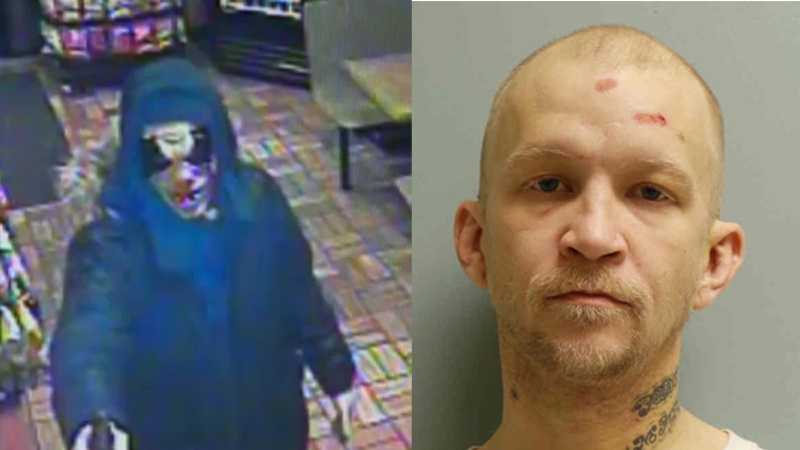 Police say Matthew Goodwin wore a clown mask and carried a gun when he allegedly stole a cash register from a Subway restaurant. He's charged with robbery.
