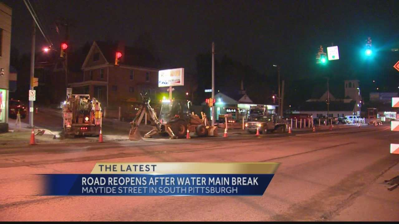 Pittsburgh's Action News 4's Michelle Wright reports that Maytide Street in South Pittsburgh has finally reopened after crews have repaired a water main break in that area.