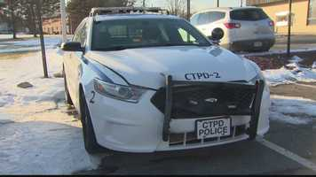 The damaged front end of a Center Township police car that was allegedly stolen.