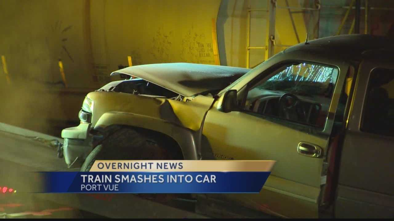 A train smashed into a car near the 15th street bridge