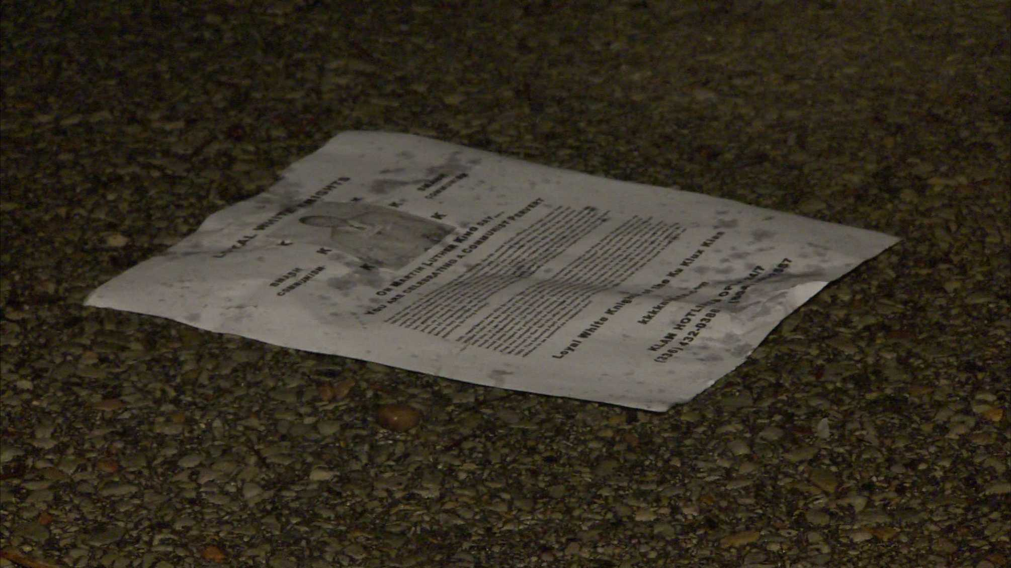 Fliers distribute in the Pennsylvania Avenue area of Manchester claim to be from the KKK.