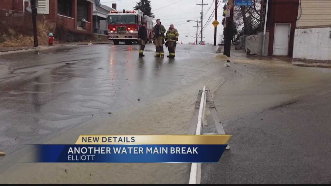 Elliot water main break left dozens without water for hours.