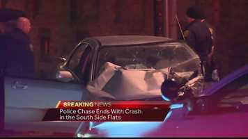 An early-morning police chase ended with a crash in the South Side Flats.