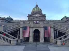 The Pennsylvania State Capitol complex on Inauguration morning.