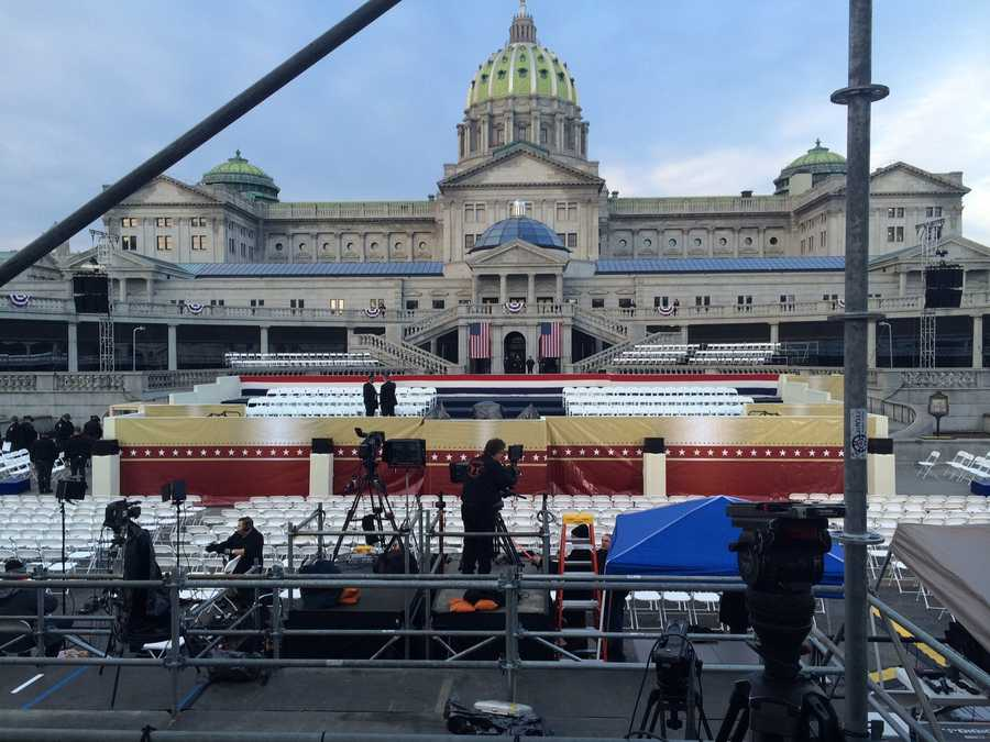 Preparations underway at the State Capitol in Harrisburg for the swearing in of the 47th Governor.