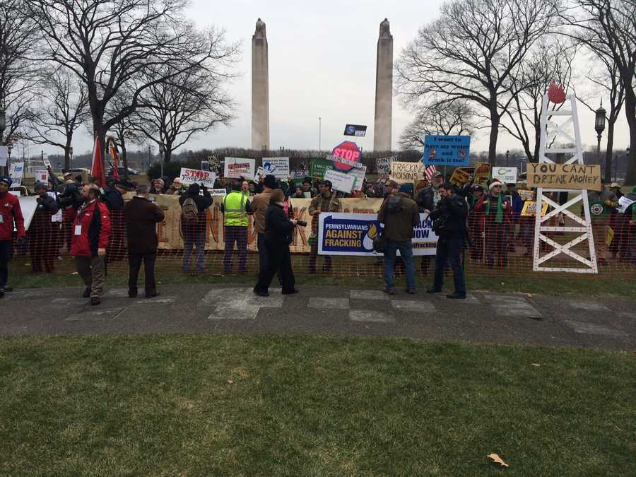 Protesters in the support of Anti-Fracking (no natural gas drilling) took to the grounds of the Pennsylvania Capitol complex to express their concerns and voices to the new governor&#x3B; Tom Wolf.