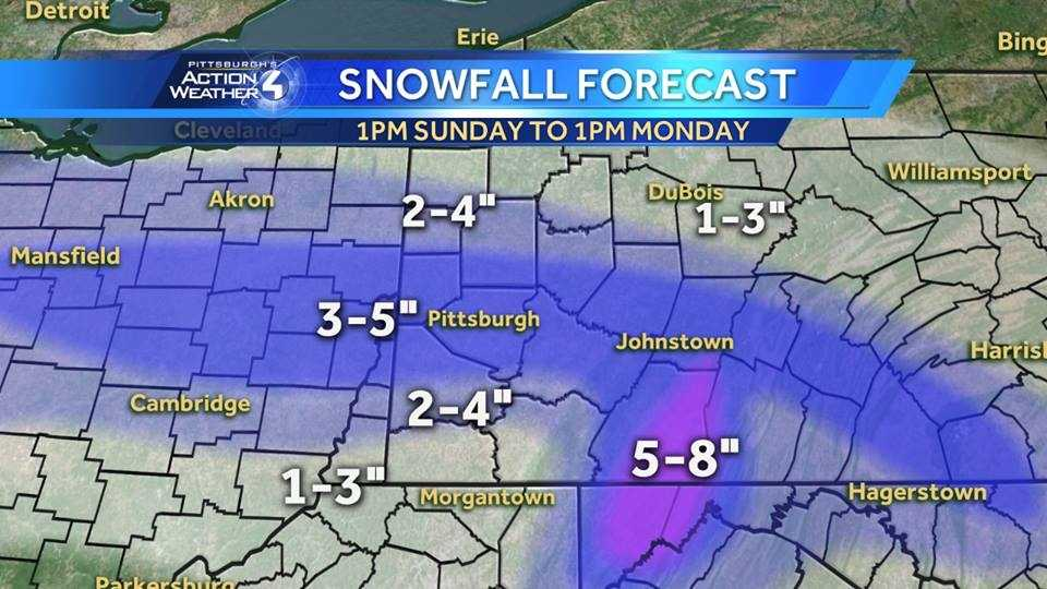 Sunday through Monday snowfall forecast