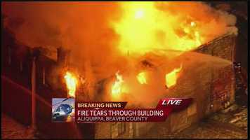 Pittsburgh's Action News 4's Sky 4 over a large structure fire in Aliquippa where fire crews from Beaver County battled it through the early morning.