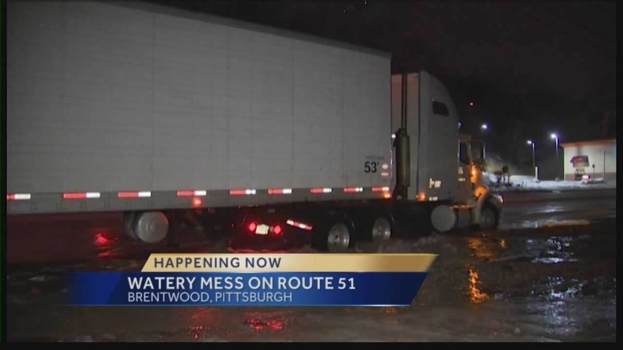 Pittsburgh's Action News 4's Jackie Schafer reports from the Brentwood section of Pittsburgh where drivers are experiencing a water mess caused that has left 50 customers without water.