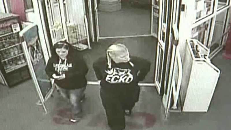 A surveillance image of Mary Lancaster and Angie Kimmel.
