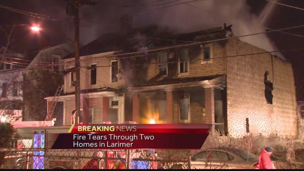Pittsburgh's Action News 4's Amber Nicotra has the latest on the multi-alarm fire in Larimer that has left two homes gutted.