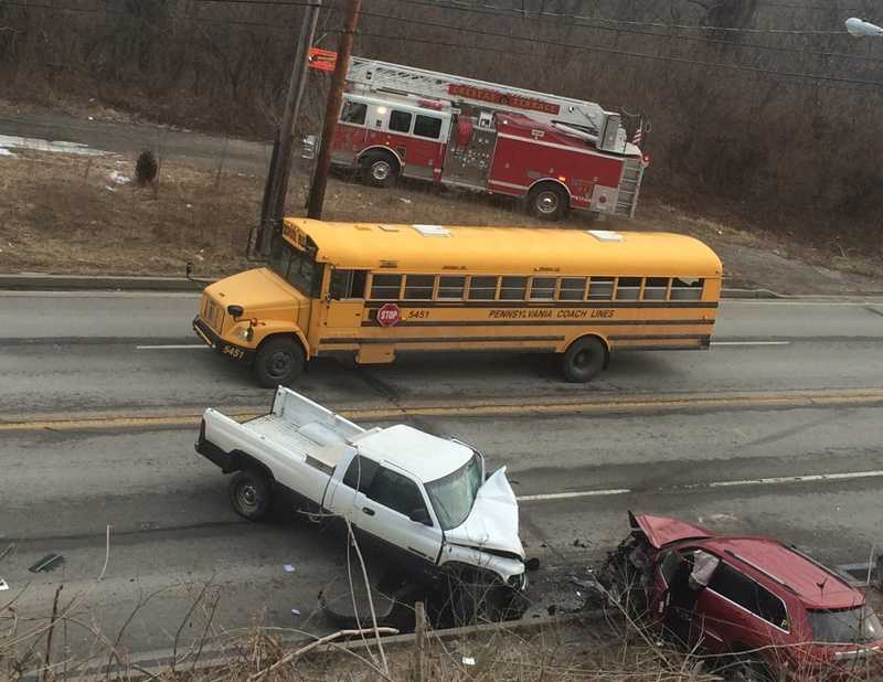 A school bus was one of several vehicles involved in a fatal crash on Route 30 in North Versailles.