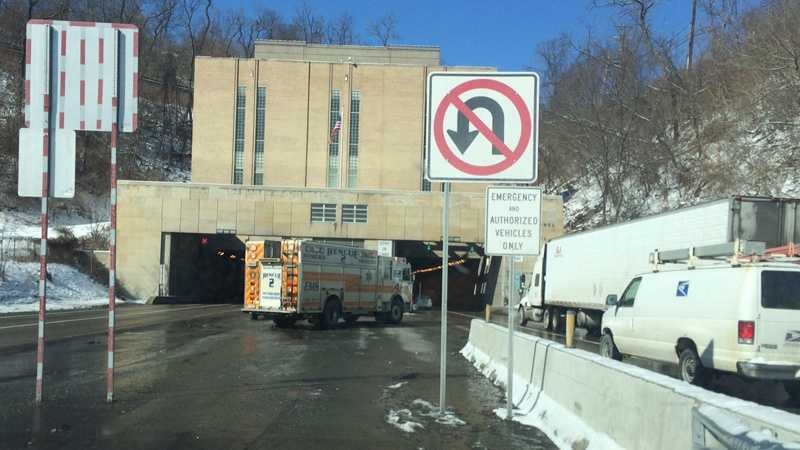 An emergency vehicle blocked the outbound entrance to the Squirrel Hill Tunnel.
