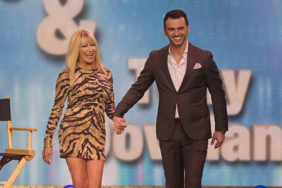 Actress Suzanne Somers with Tony Dovolani.