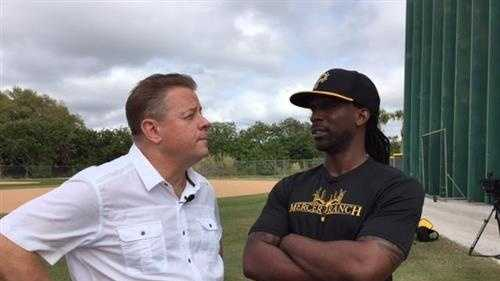 Pittsburgh's Action Sports Guy Junker with Pirates CF Andrew McCutchen in Bradenton
