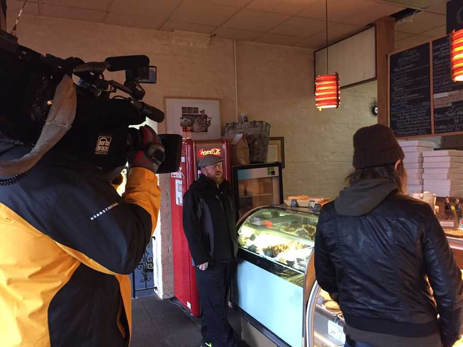 "WTAE Executive Producer Jenn Sloan captured these ""Behind the Scenes"" pics of our ""Chef in the Strip"" piece with Chef Kate Romane of E2 in Highland Park"