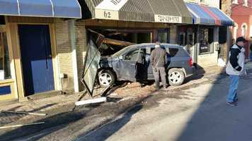 A vehicle crashed into a Uniontown business Monday afternoon.
