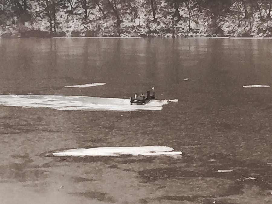 Docks floating on down the Monongahela river