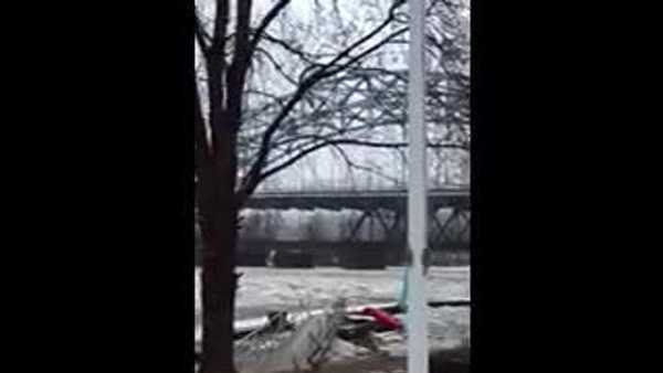 Video that appears to show the McKeesport marina washed out was shared with WTAE by witness Joanie Keller.