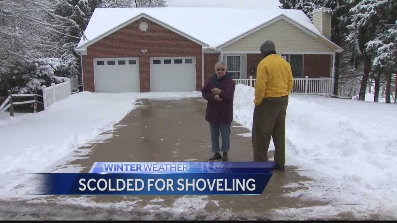 Scolded for shoveling