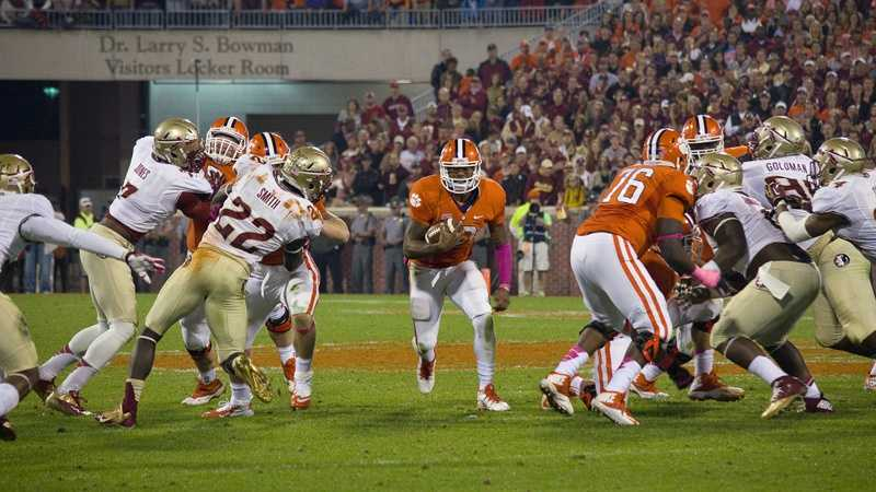 Tajh Boyd runs the ball for Clemson in a 2013 game against Florida State.
