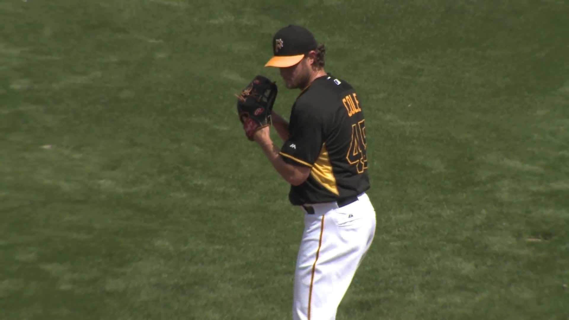 Pirates pitcher Gerrit Cole at spring training in Bradenton facing the MInnesota Twins