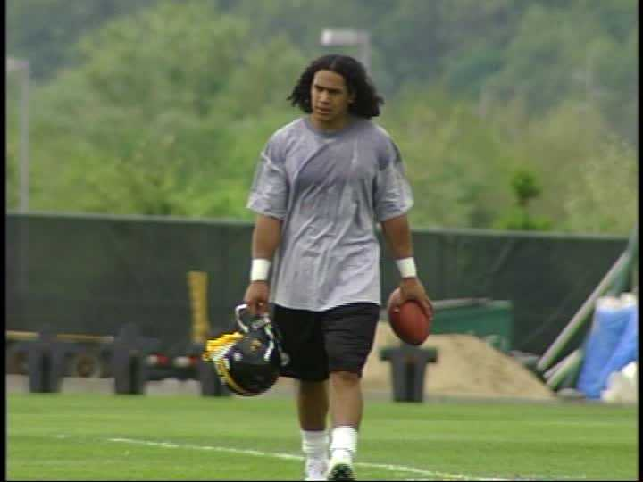 Troy Polamalu at the Steelers' rookie minicamp in 2003.