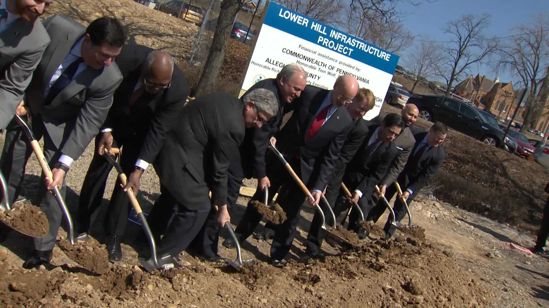 Groundbreaking marks start of street grid work for Lower Hill Infrastructure Project
